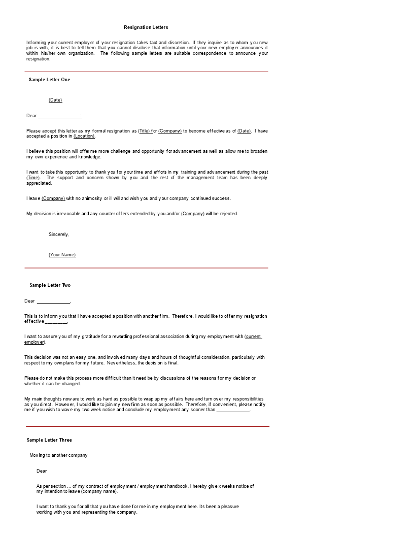 Free Job Dissatisfaction Resignation Letter In Ms Word Templates