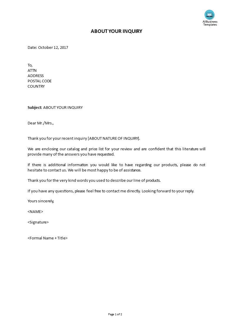 Cover letter in response to inquiry templates at cover letter in response to inquiry main image thecheapjerseys Images