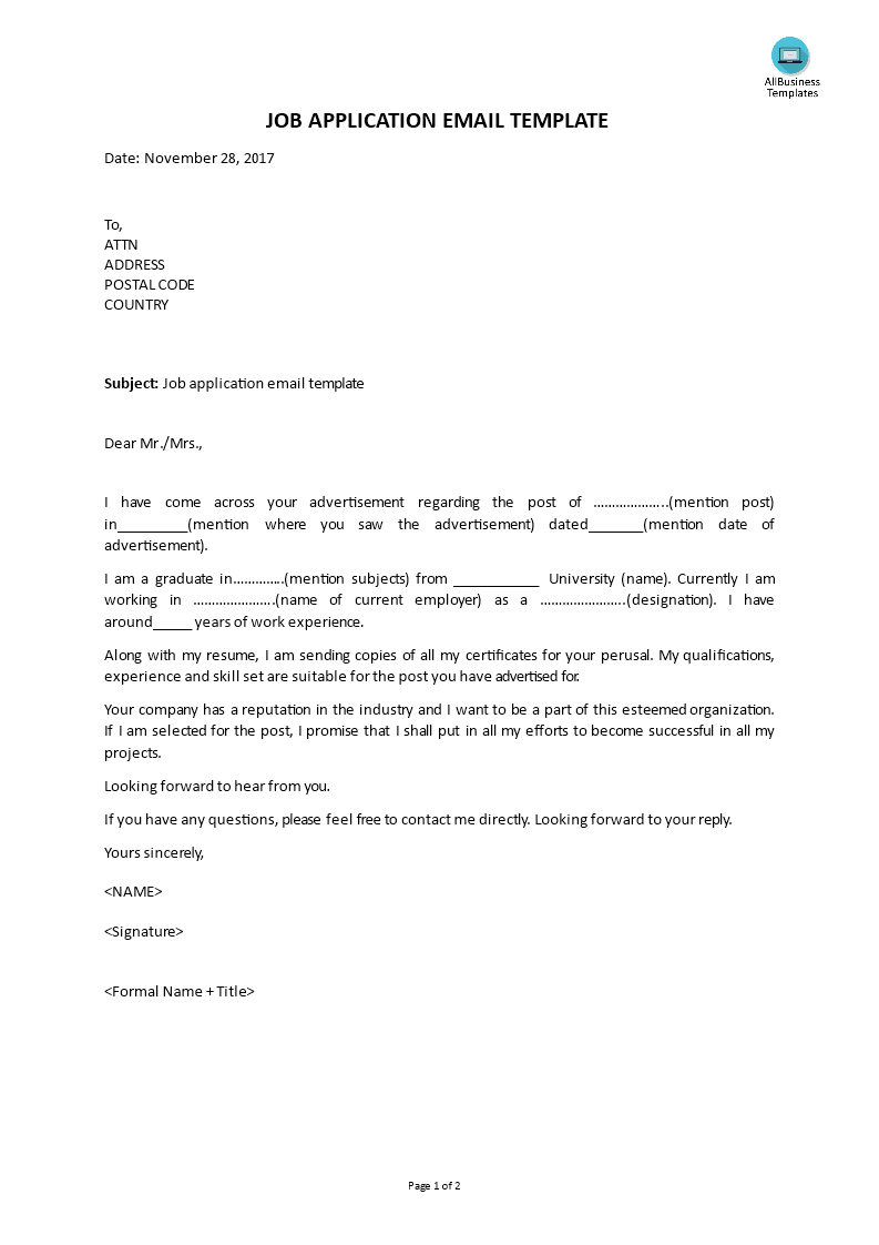 Job Application E Mail Template   Templates at ...