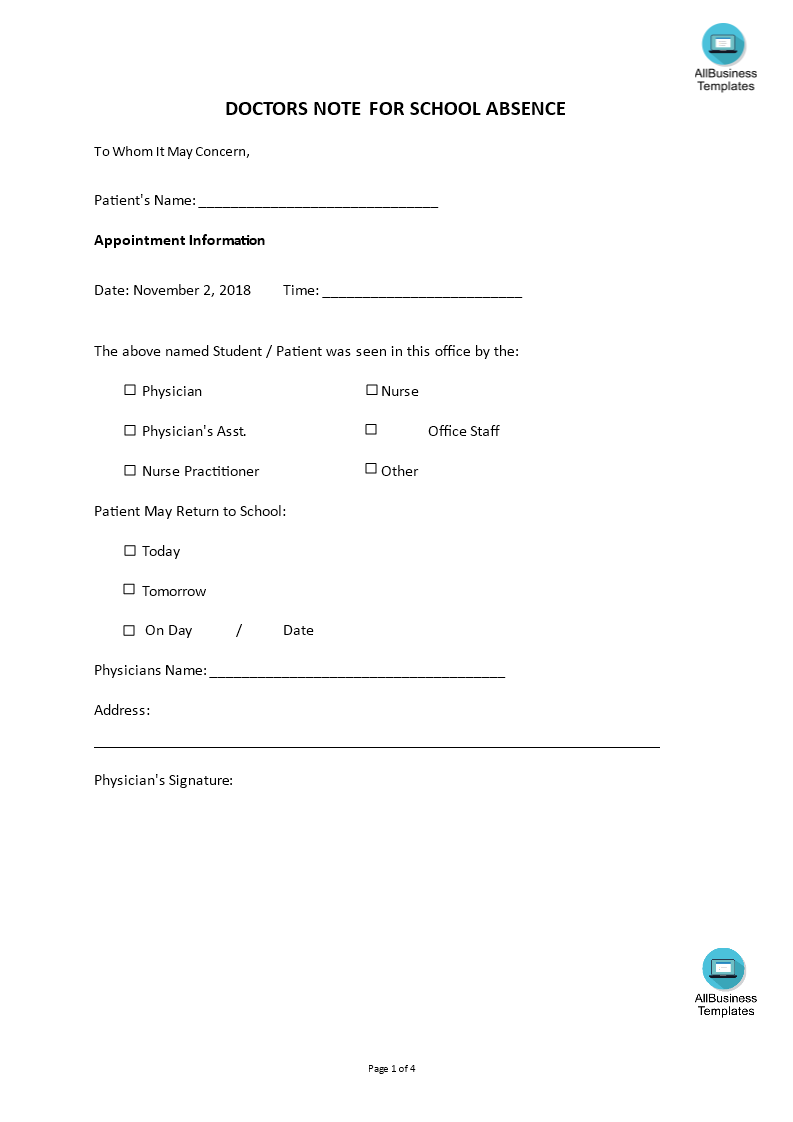 Doctors Note For School Absence Template main image