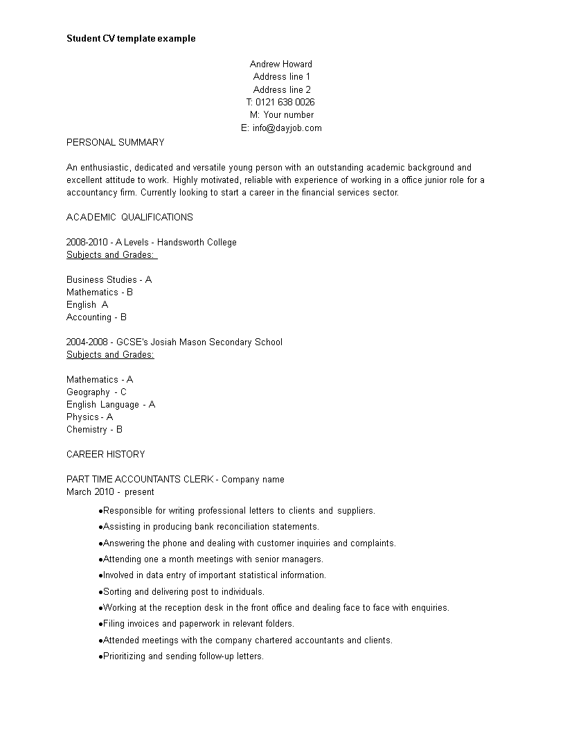 Curriculum Vitae Template For Students from www.allbusinesstemplates.com