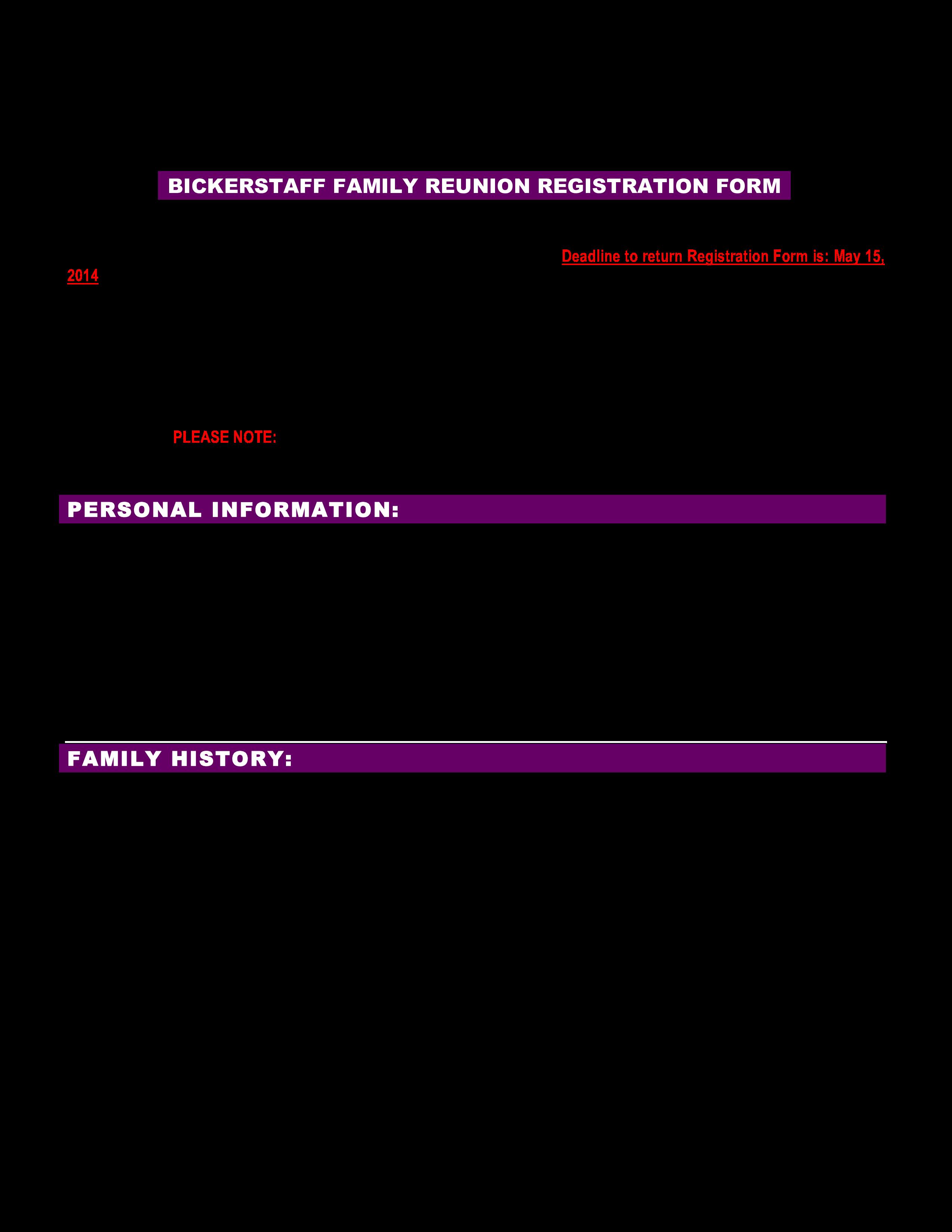 Family Reunion Registration Form