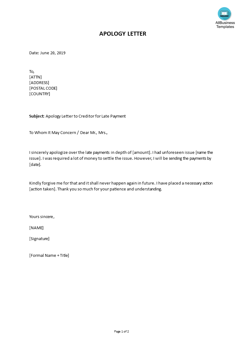 apology letter to creditor for late payment