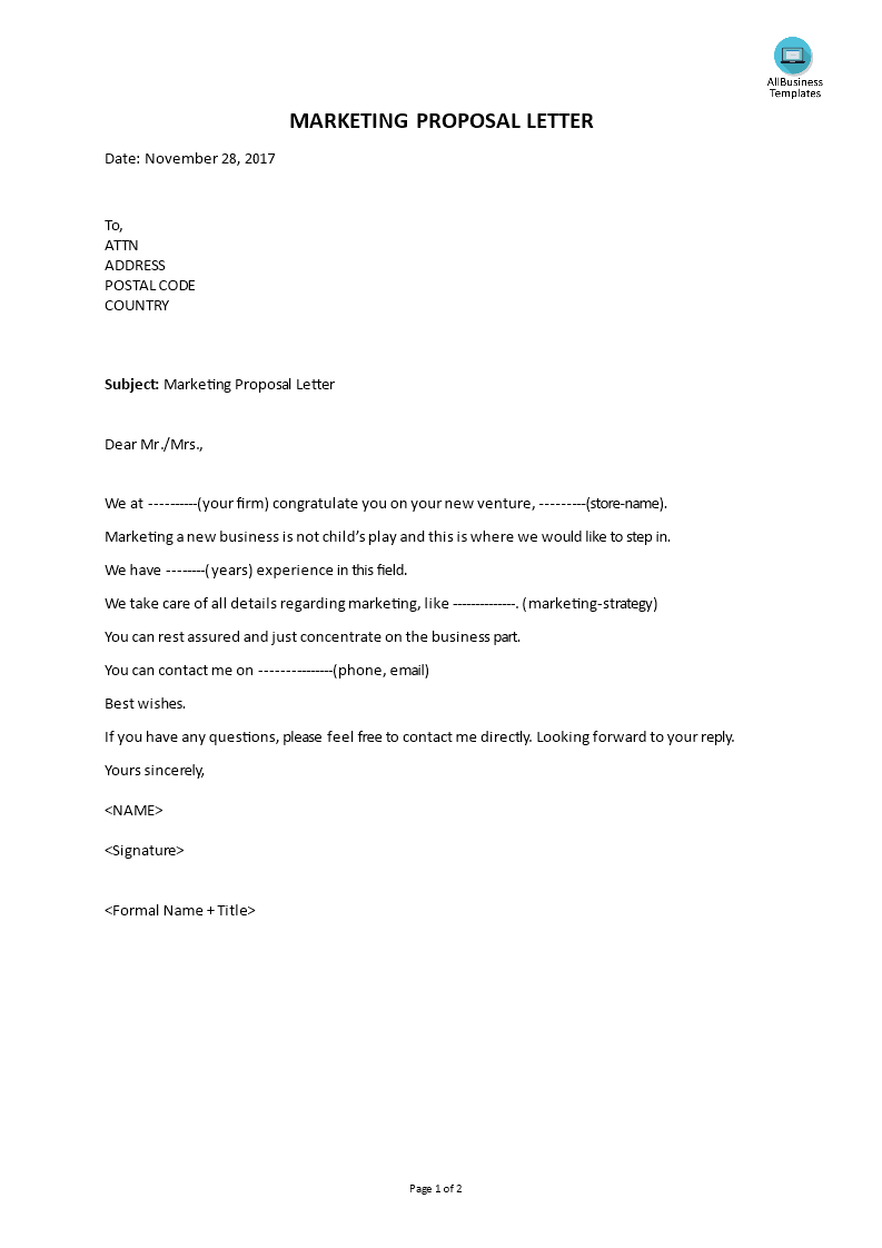 Marketing Proposal Letter Main Image  Marketing Proposal Letter