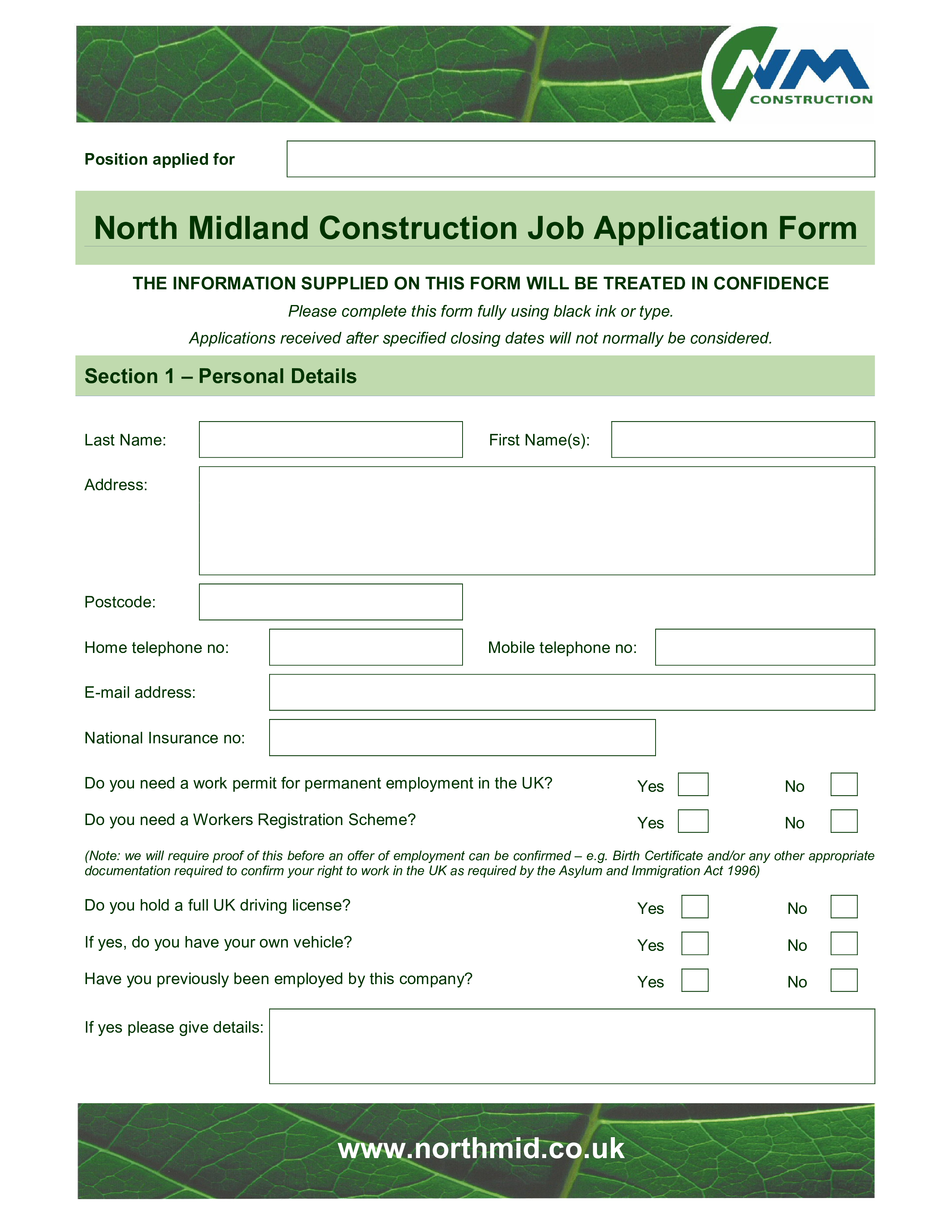 free construction employee application form templates at