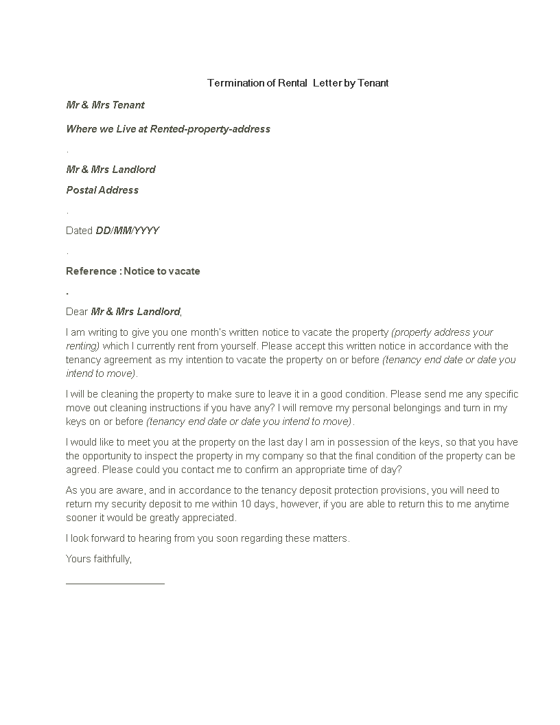 Free Termination Of Rental Letter By Tenant Templates At