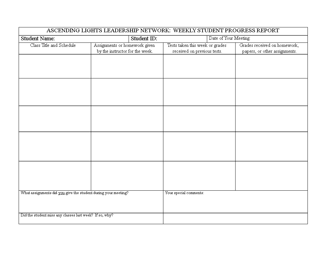 free student weekly report format templates at