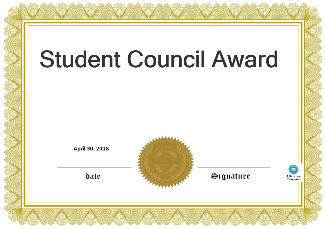 free student council award templates at