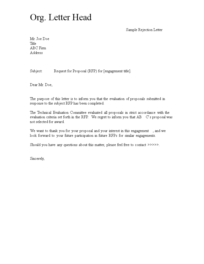 free request for proposal rejection letter templates at