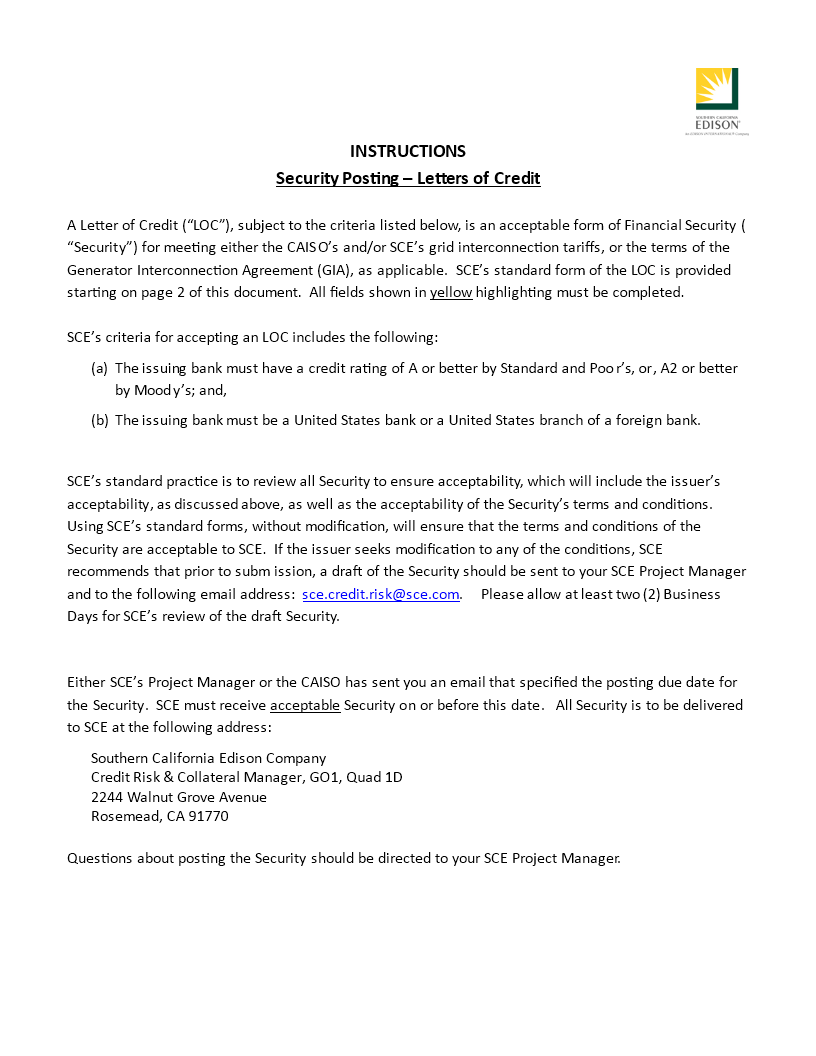 Standard Letter Of Credit Template