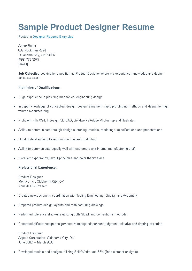 Free Product Designer Resume | Templates at allbusinesstemplates.com