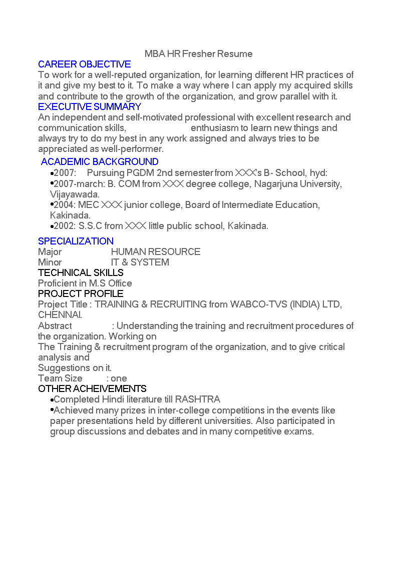 mba hr fresher resume  templates at allbusinesstemplates