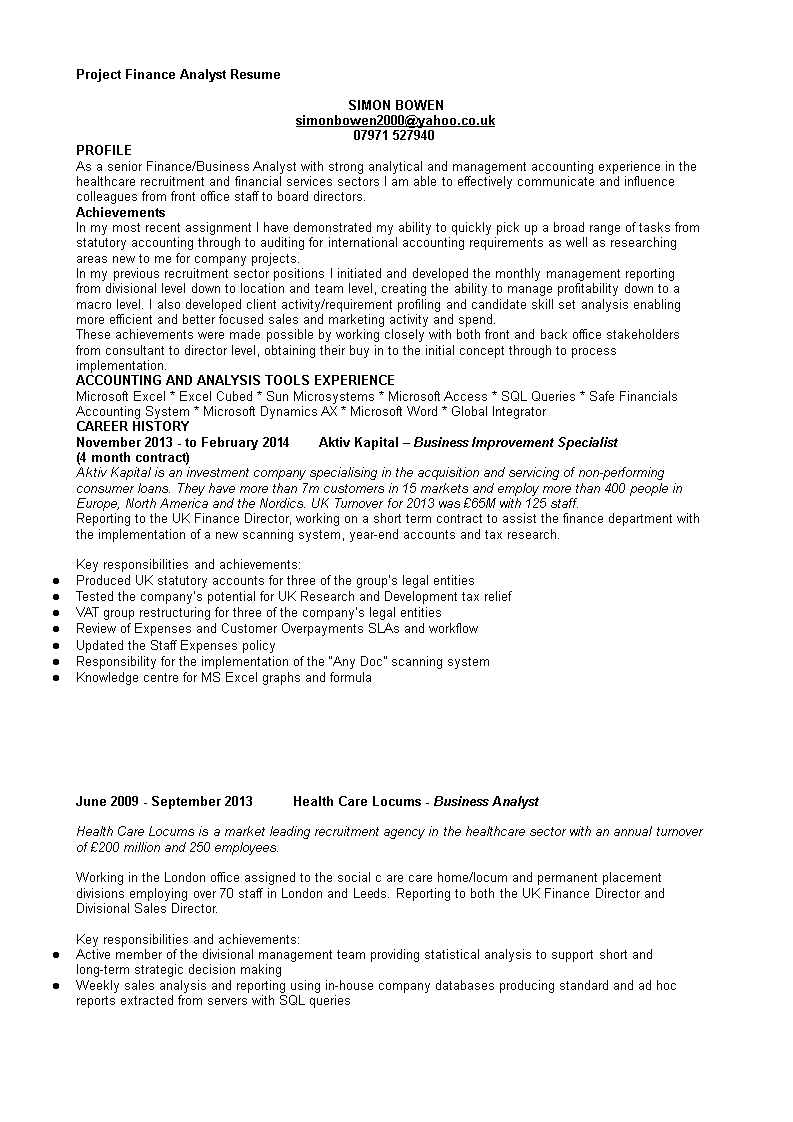 Free Project Finance Analyst Resume | Templates at ...