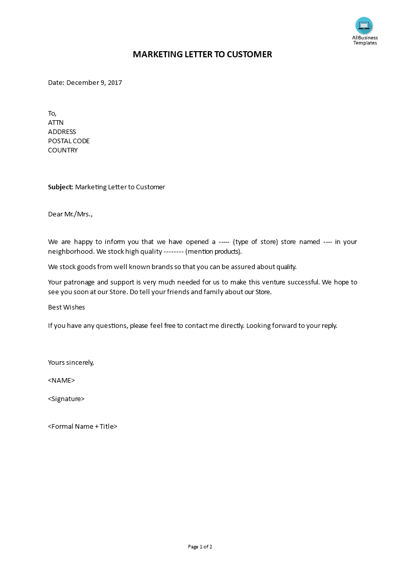 Marketing Letter To Customer Templates At Allbusinesstemplates Com