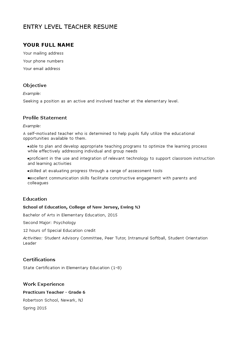 free entry level teacher resume | templates at allbusinesstemplates