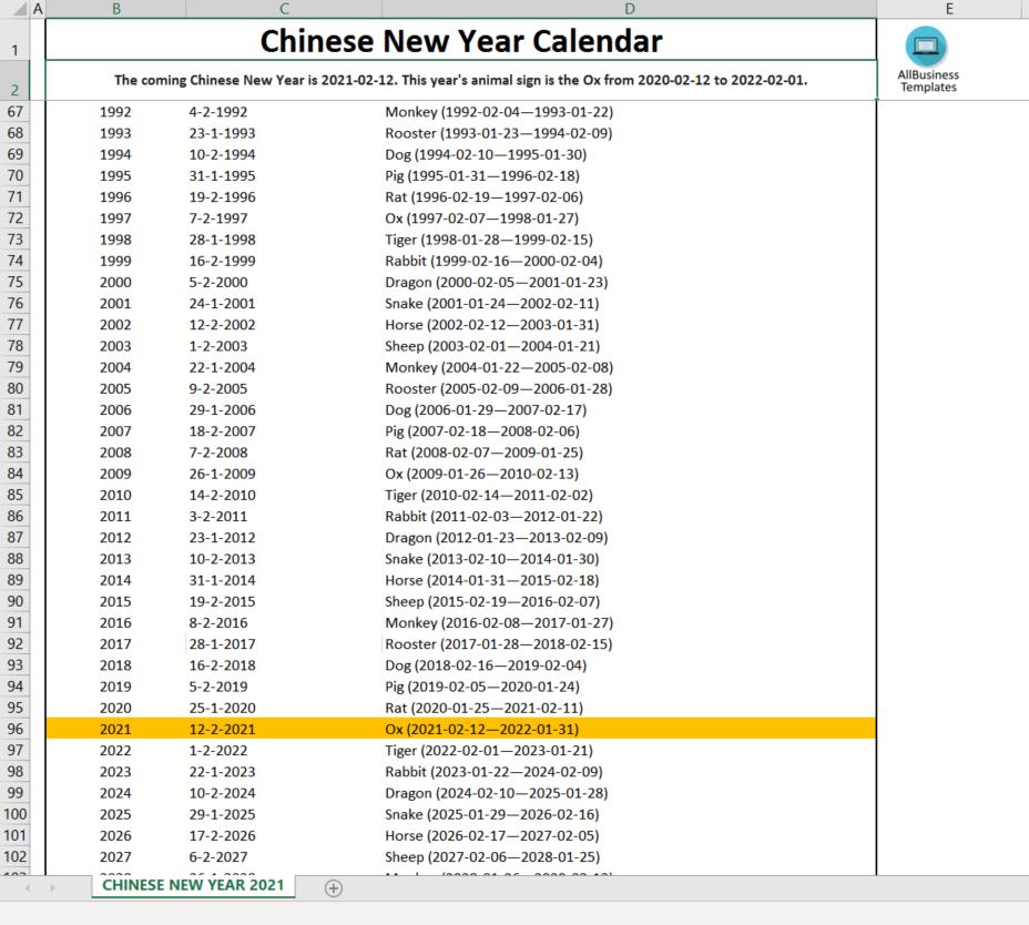 Chinese New Year Calendar 2022.Chinese New Year Calendar Ox Year 2021 Templates At Allbusinesstemplates Com