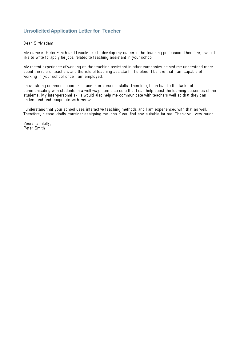 Unsolicited Application Letter For Teacher | Templates at ...