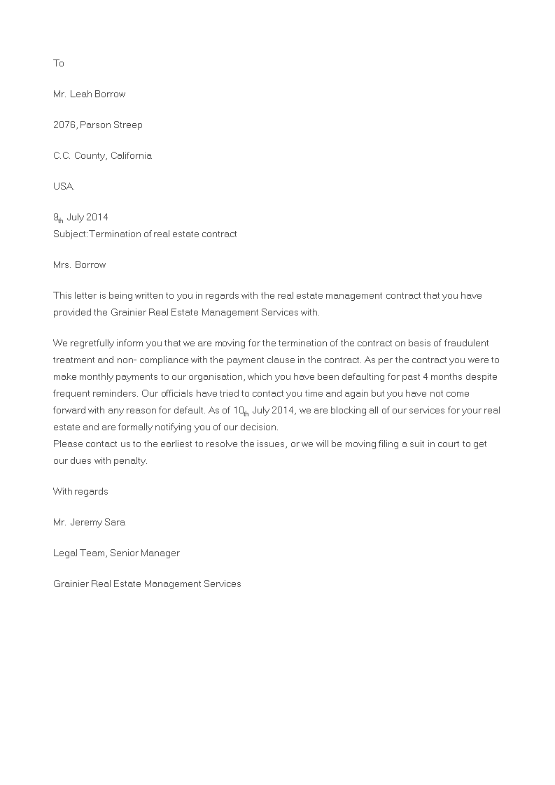 Free Real Estate Contract Termination Letter  Templates At