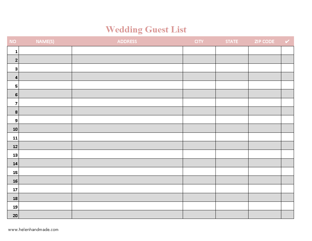 Wedding Guest List Organizer Excel  Templates at