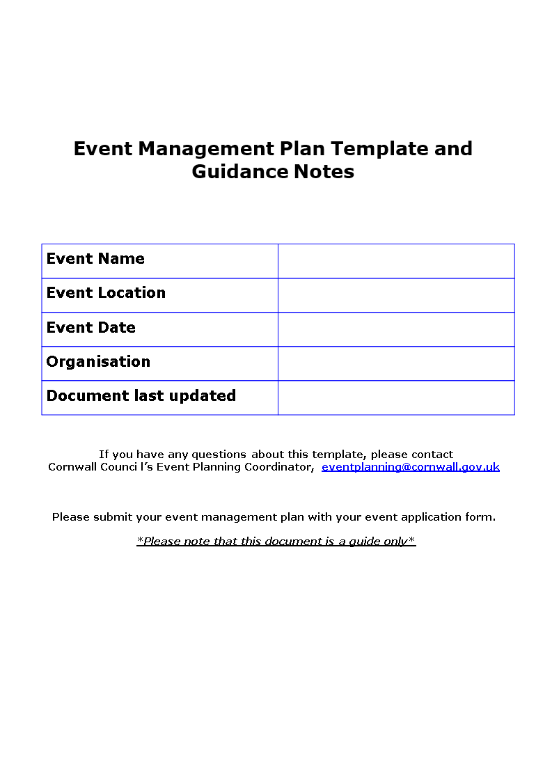 Free Event Management Action Plan Templates At