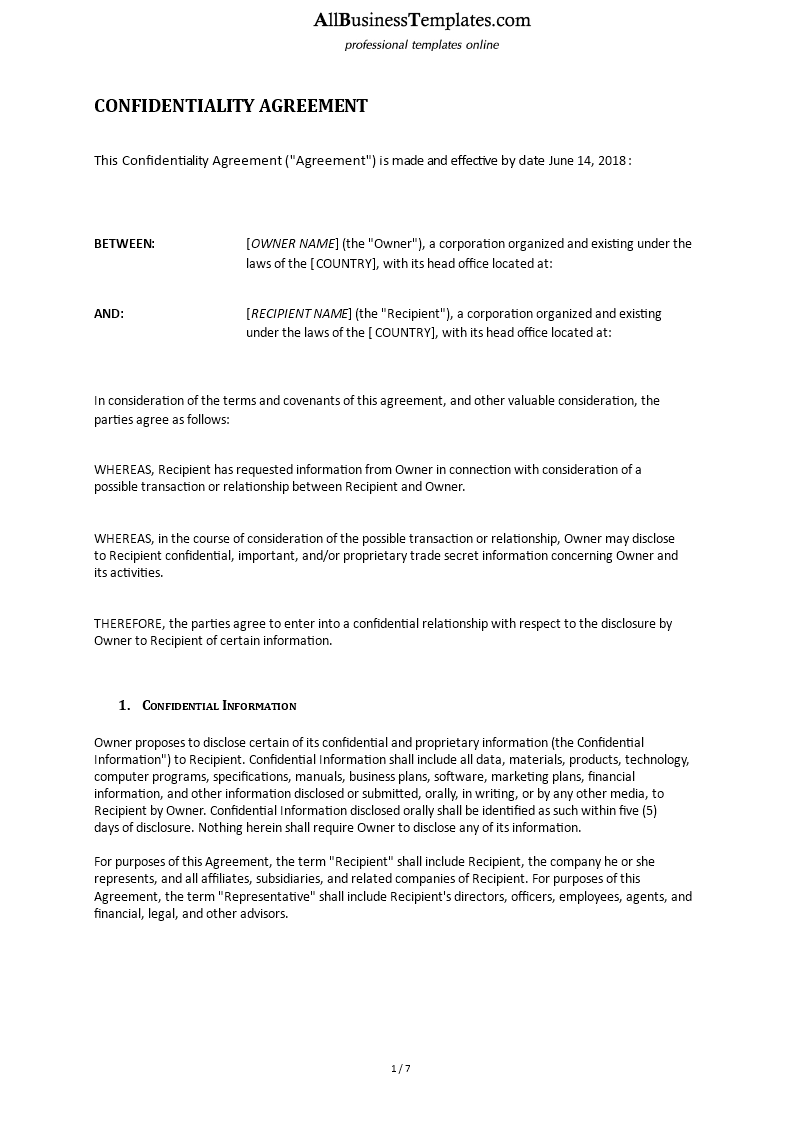 Confidential Disclosure Agreement Templates At