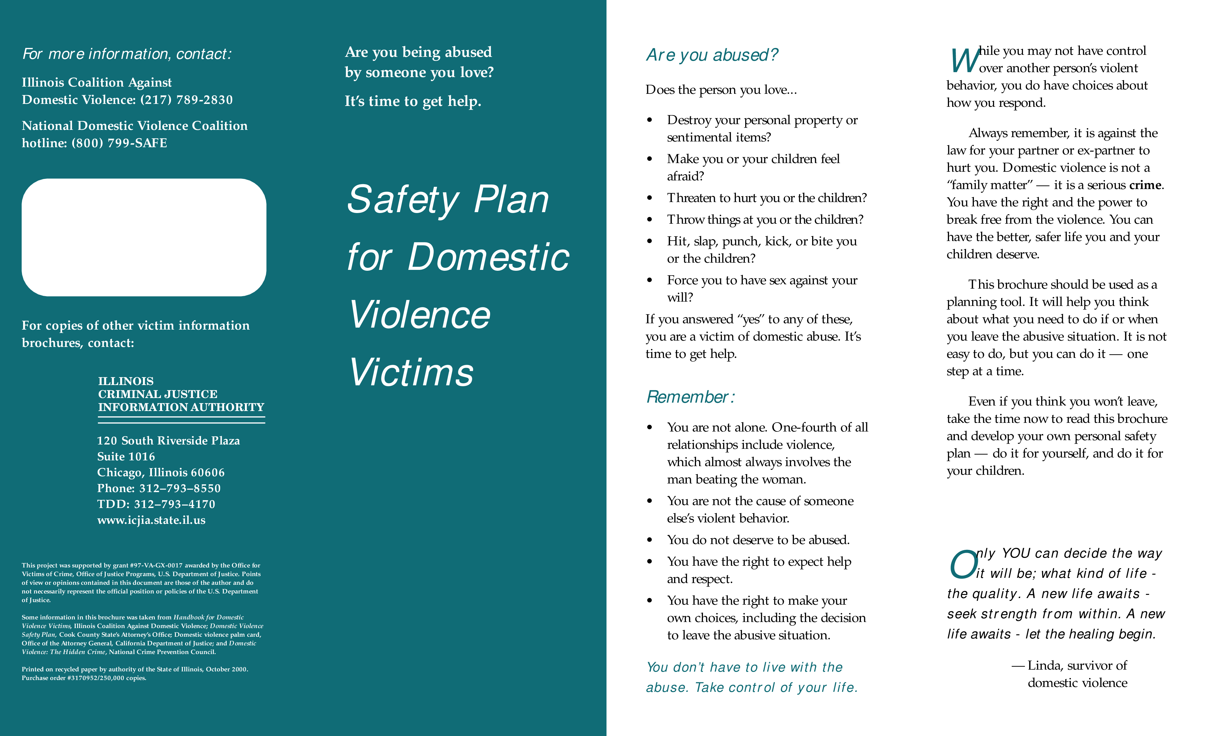 Free Domestic Violence Safety Plan Brochure | Templates at ...