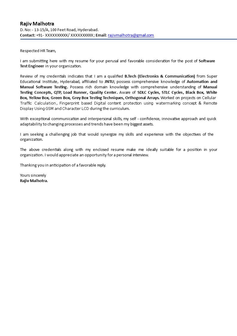 Fresher Engineer Job Application Letter