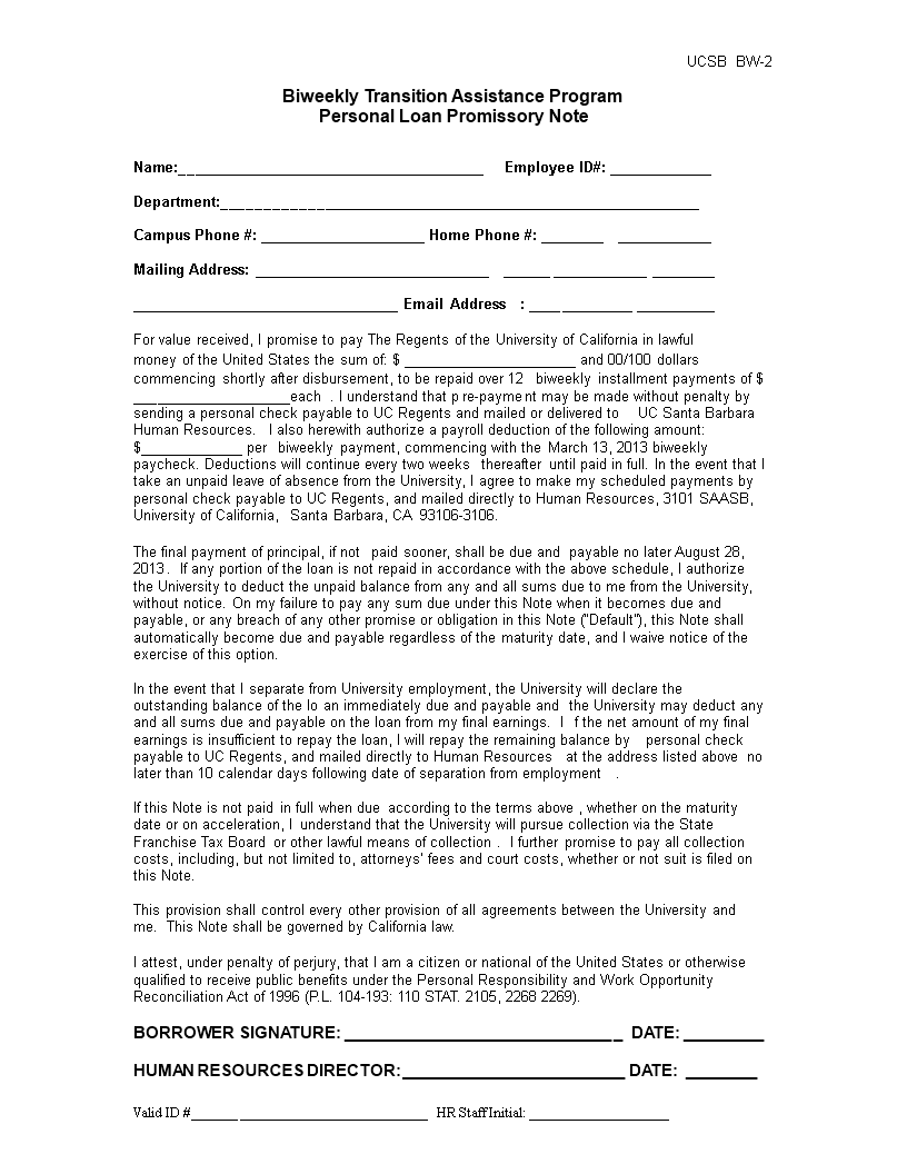 sample personal loan promissory note main image