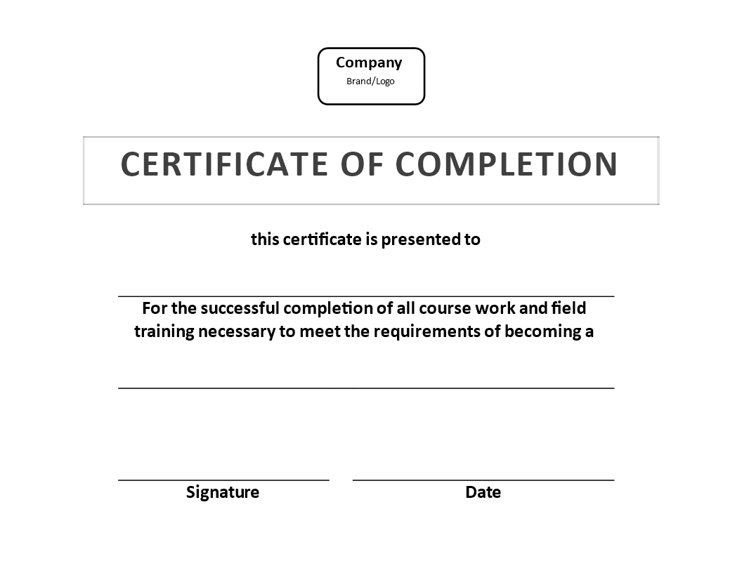 Free Certificate Of Training Completion Example Templates At
