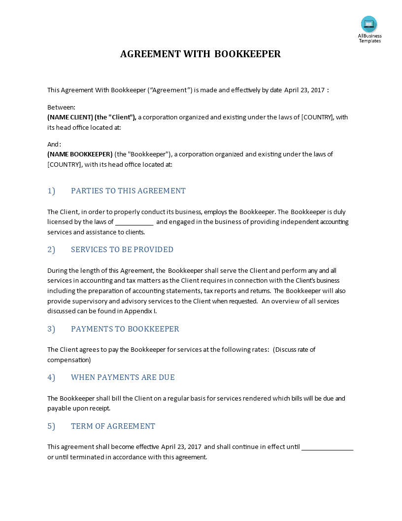 Agreement With Bookkeeper Main Image Get Template