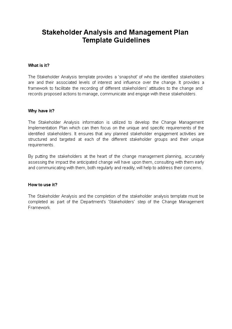Stakeholder Analysis Management Plan Main Image